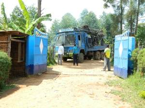 The drilling rig arrives at Mambai Primary School on 08-07-2013